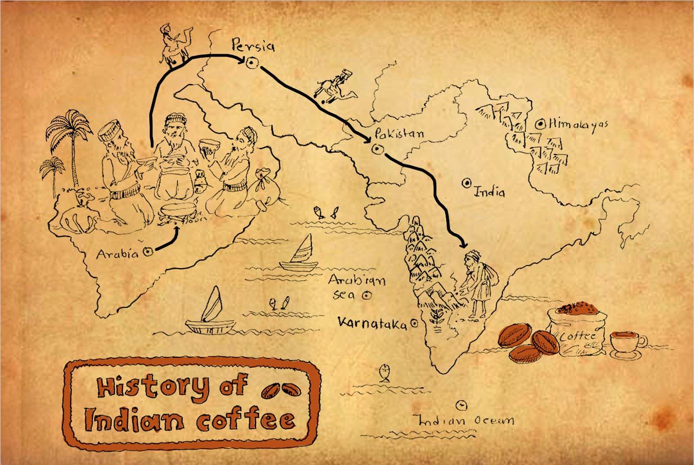 фото как кофе попал в Индию
