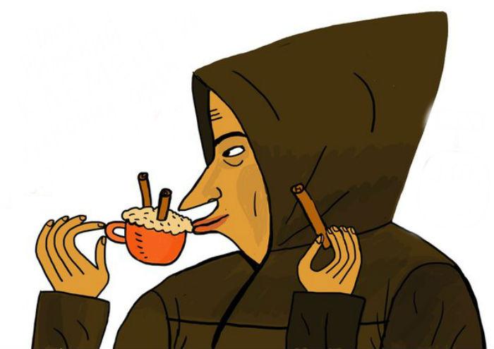 фото монаха капуцына, пьющего напиток капучино