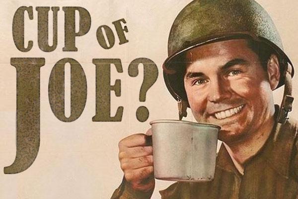 фото американского солдата с кофе кружка Джо