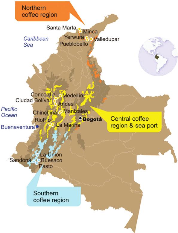 кофейная карта Колумбии
