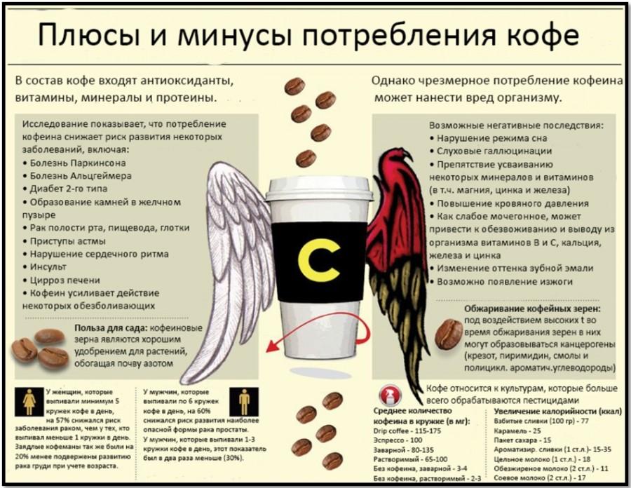 плюсы и минусы употребления кофе