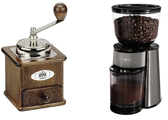 фото ручной и электрической жерновой кофемолки
