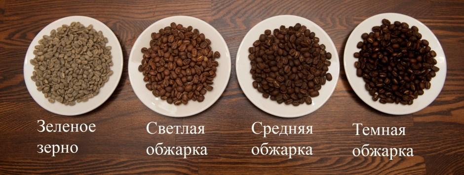 фото степеней обжарки кофейных зерен