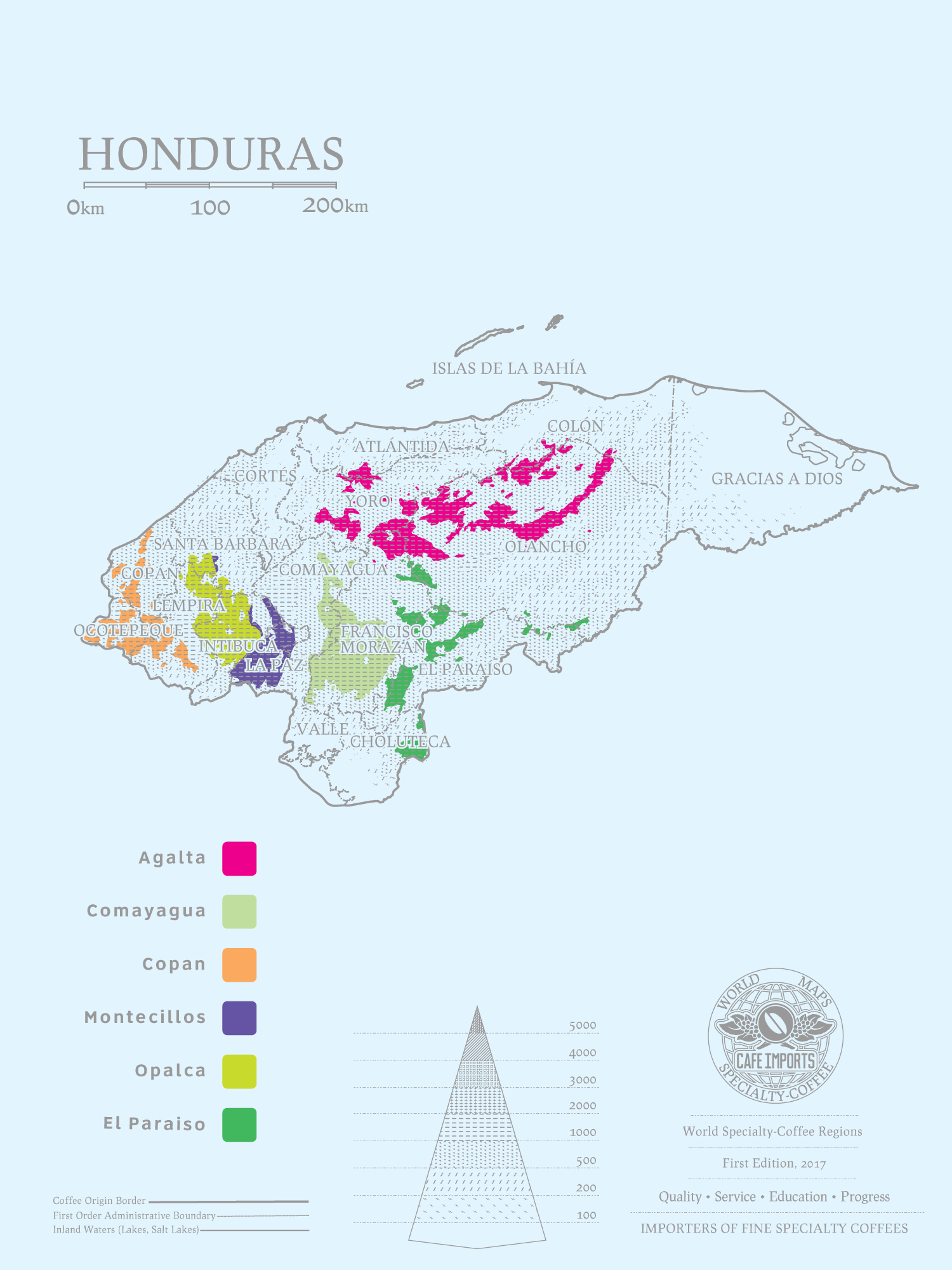 карта производства кофе в Гондурасе