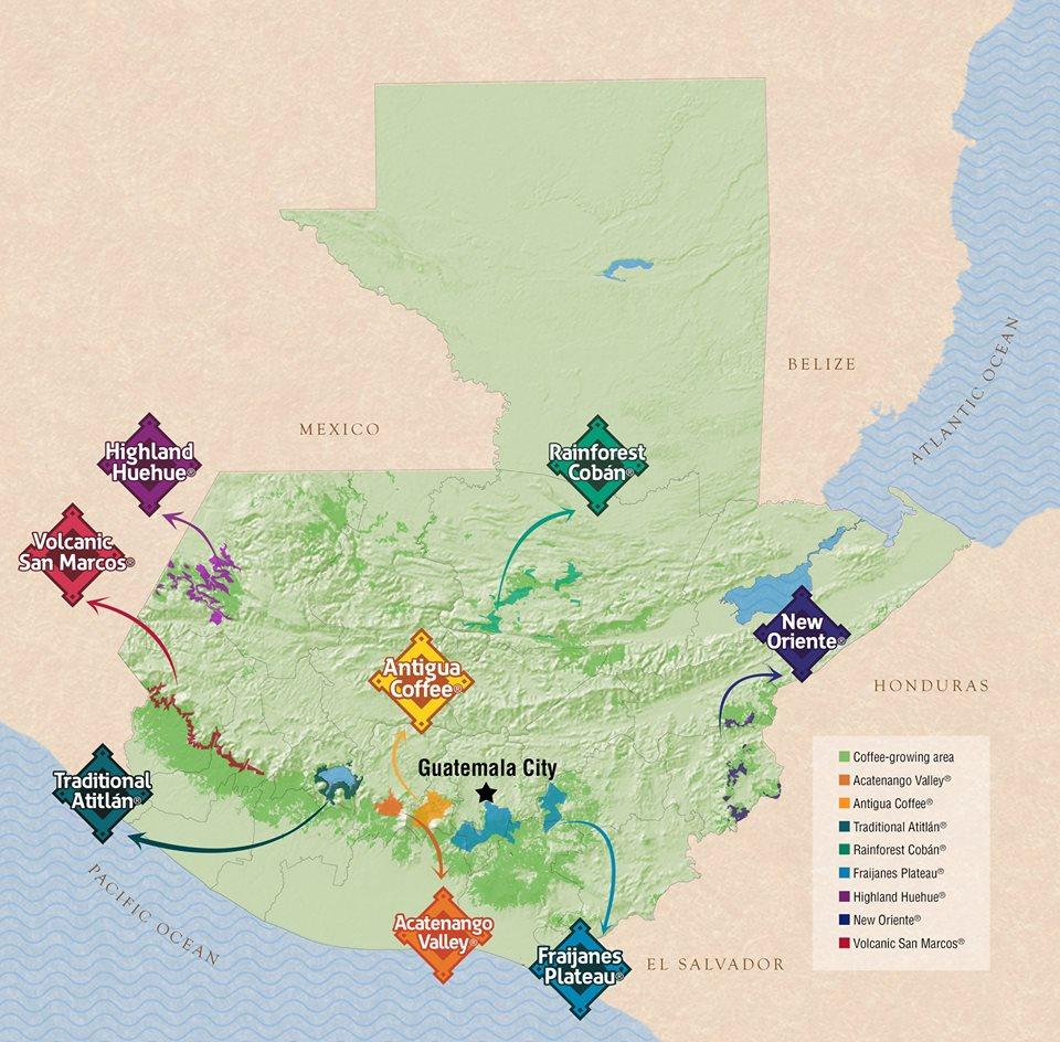 карта рагионов выращивания кофе в Гватемале