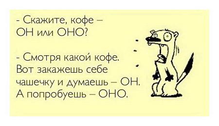 шутка про род кофе в русском языке