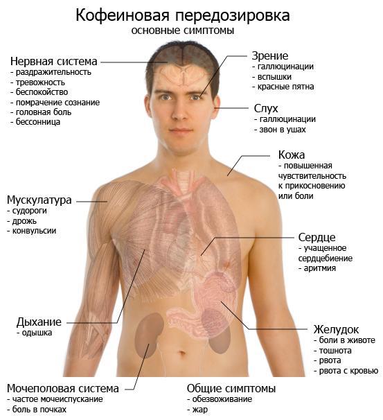 симптомы передозировки кофе