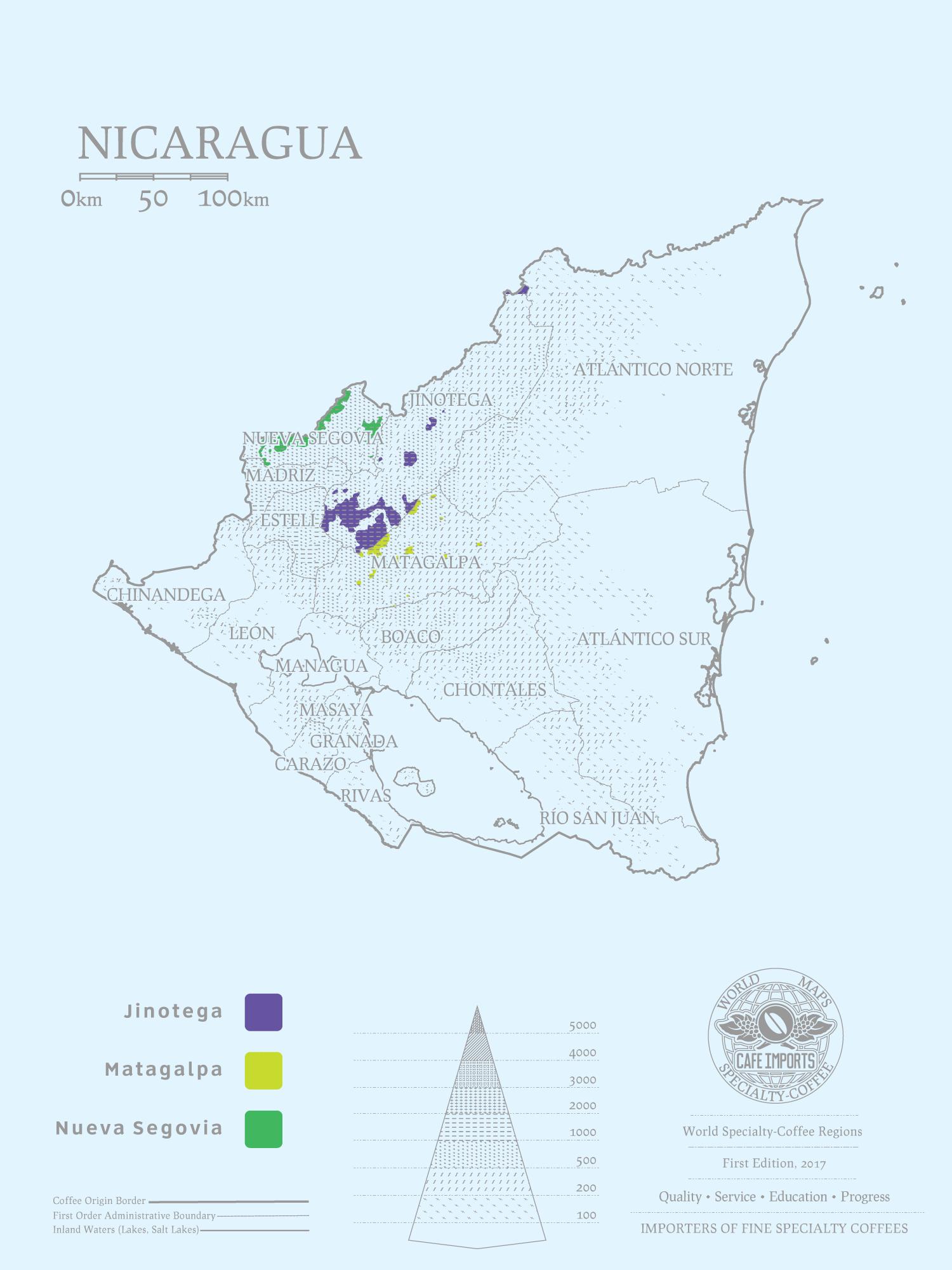 карта производства кофе в Никарагуа