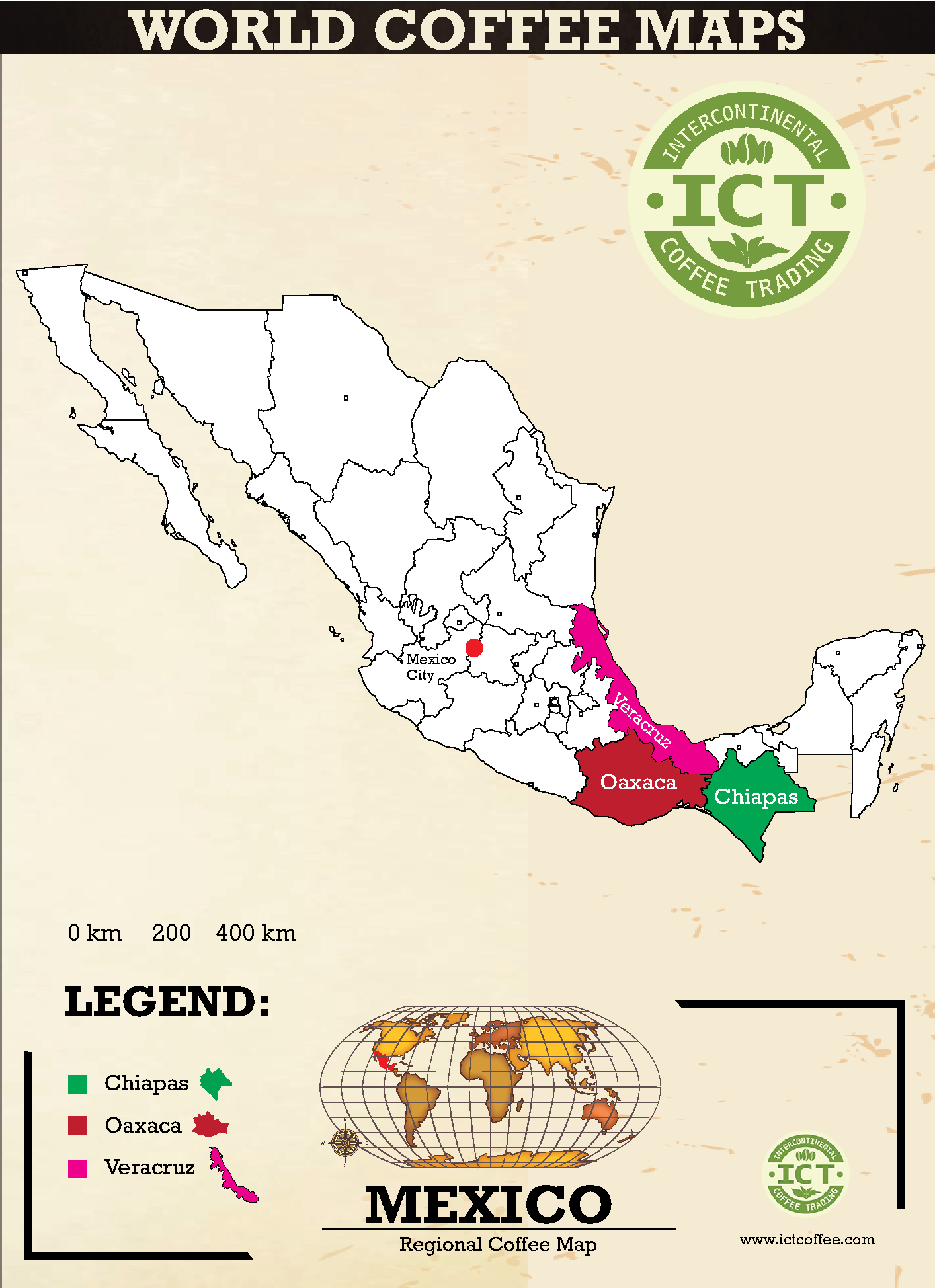 карта регионов производства кофе в Мексике