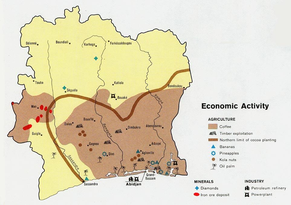 карта производства кофе в Кот д'Ивуар