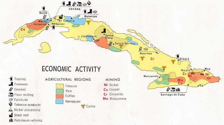 карта производства кофе на Кубе