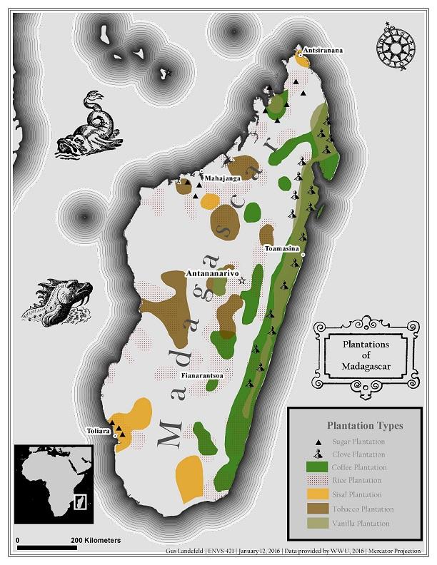 карта выращивания кофе на Мадагаскаре