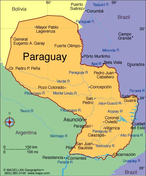 карта производства кофе в Парагвае