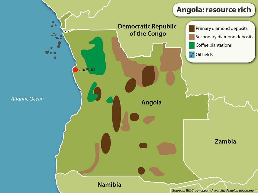 карта производства кофе в Анголе