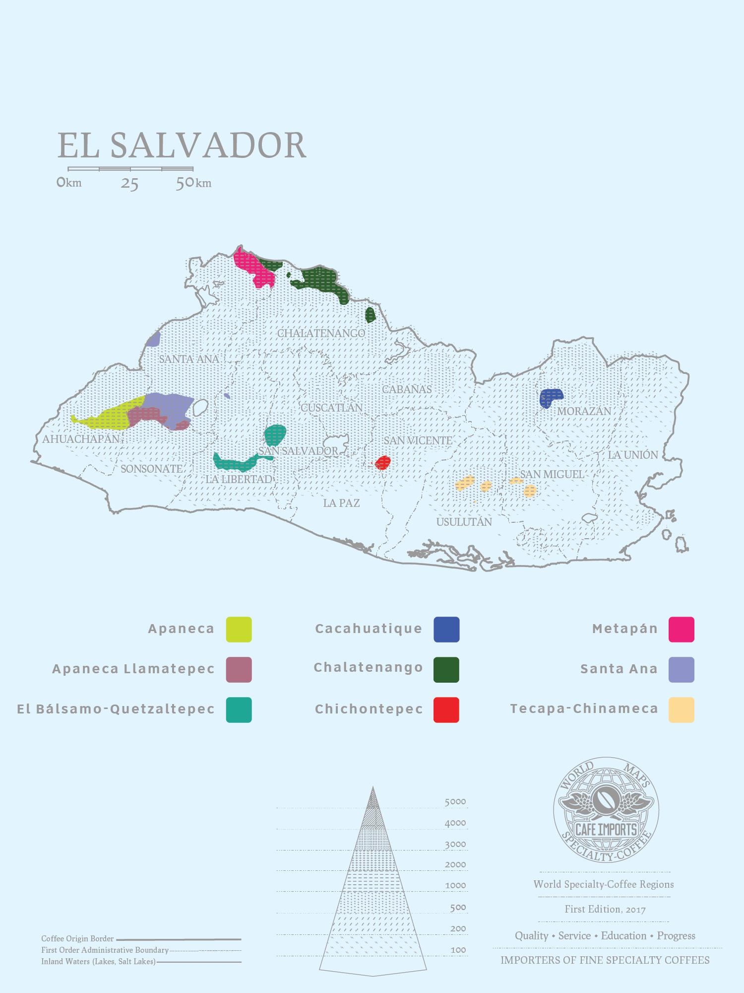 карта производтсва кофе в Сальвадоре