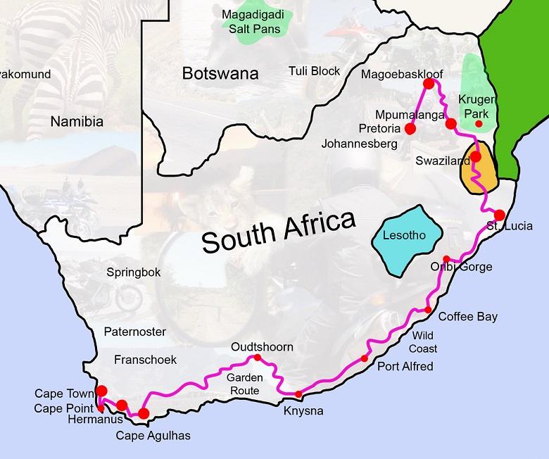 карта производтсва кофе в ЮАР