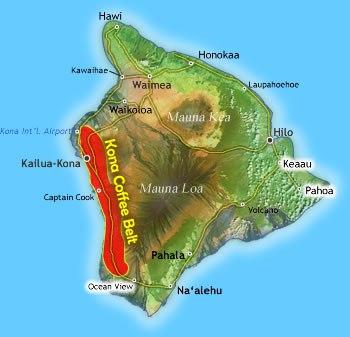 карта выращивания кофе кона на Гавайях