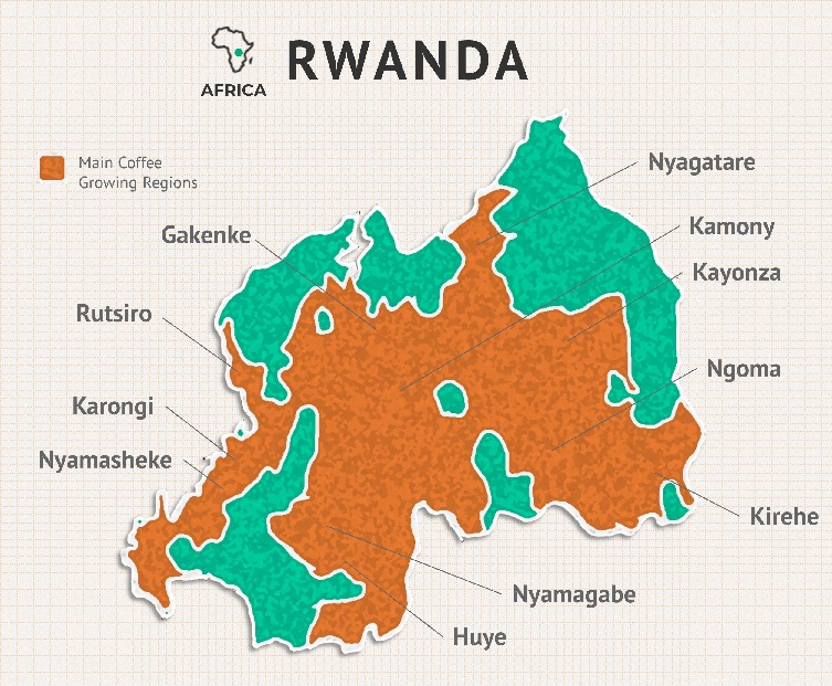 карта производства кофе в Руанде
