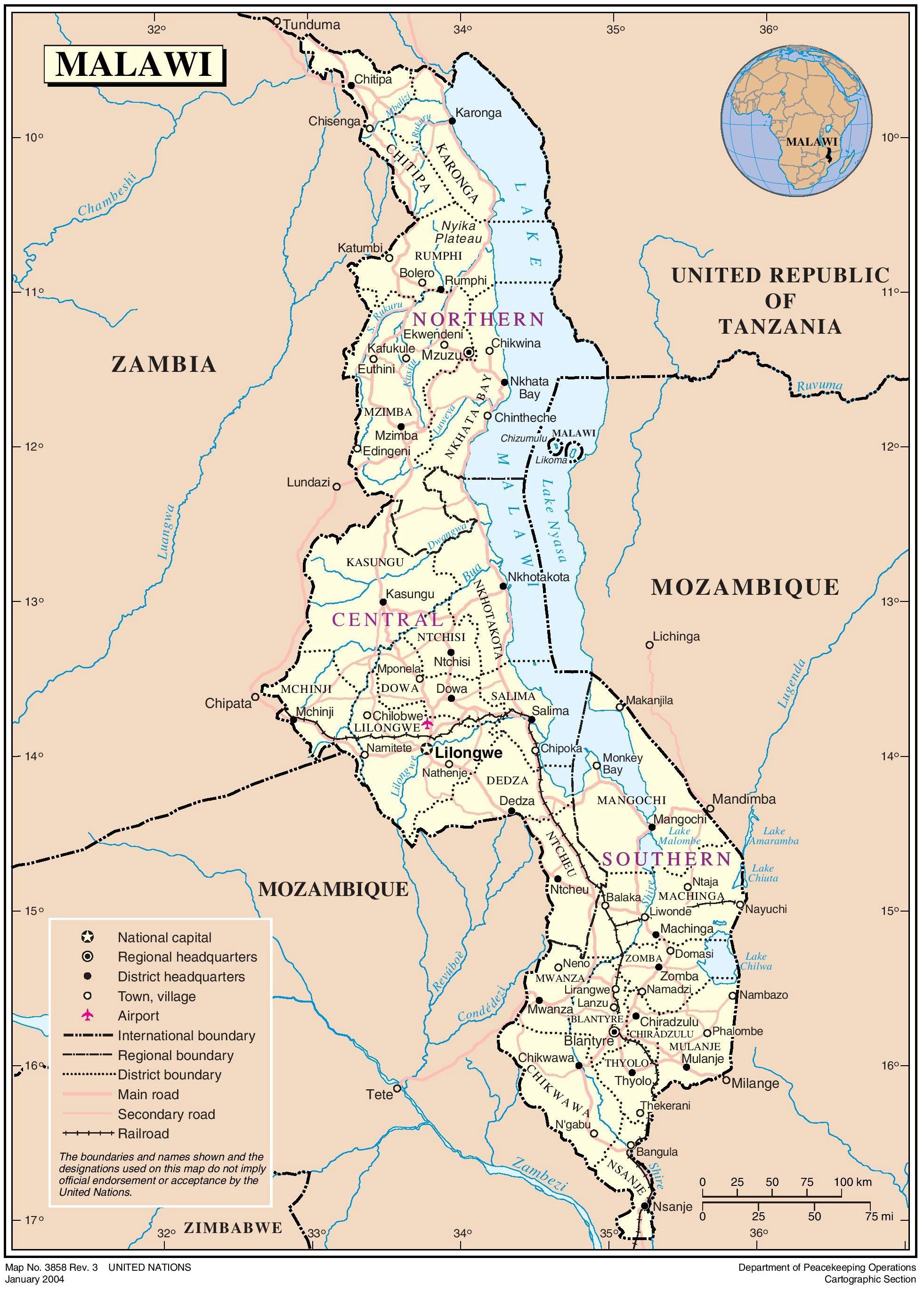 карта производства кофе в Малави