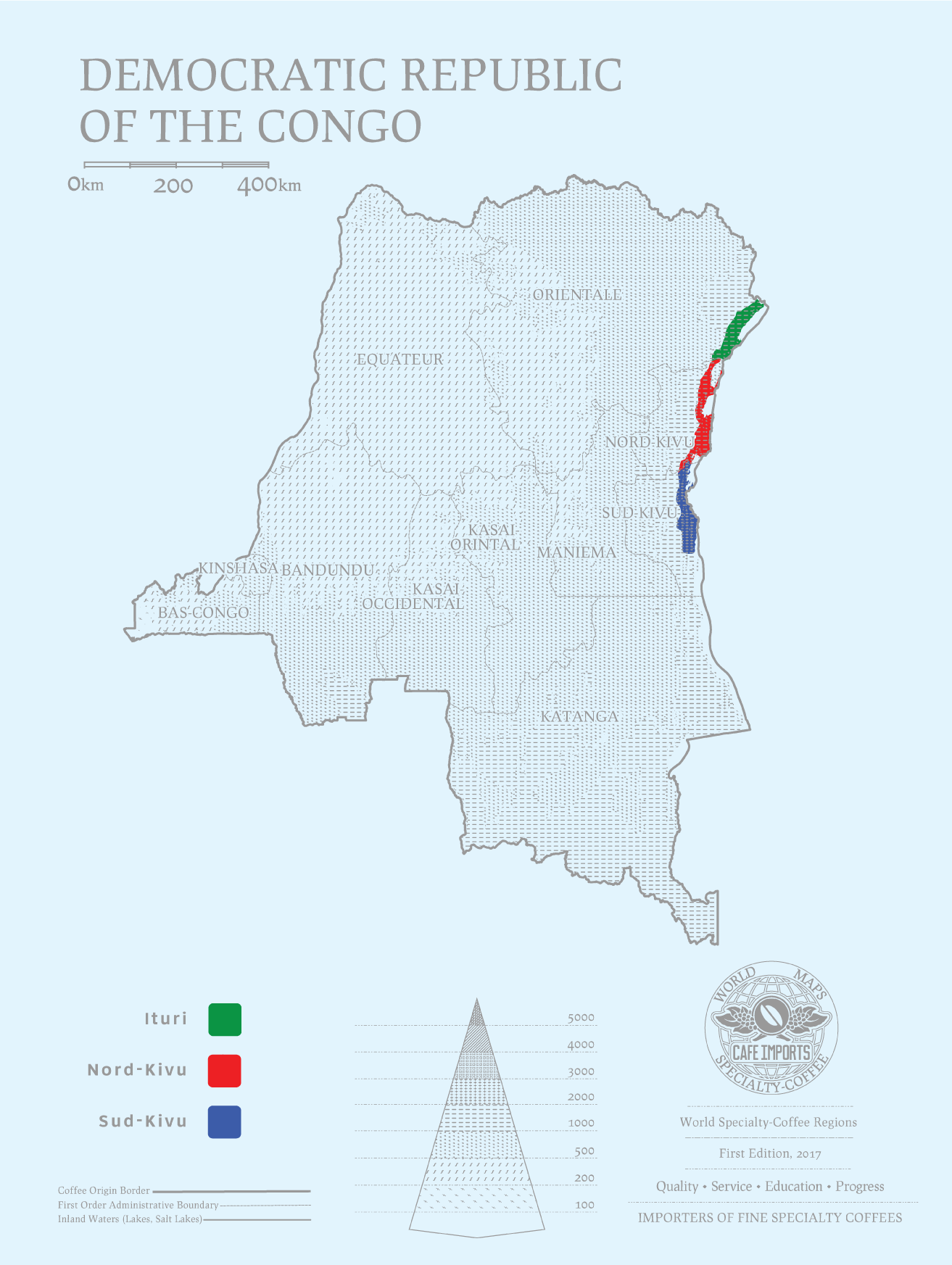 карта производства кофе в Конго