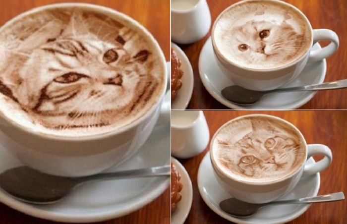 фото сложного рисунка на кофе